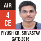 Peeyush Kr. Shrivastav, GATE 2016, RANK 4